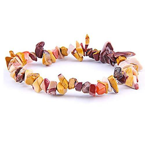 HOULAI Pulsera de piedras naturales irregulares simples de piedras elásticas de chips de perlas de aguamarina de cristal rosa pulseras de cuarzo para mujeres y hombres
