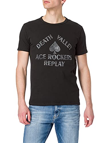 REPLAY M3370 Camiseta, 099 Blackboard, S para Hombre