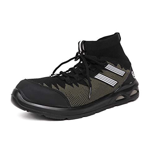 [コーコス信岡] 安全作業靴 先芯入り ミドルカット ニット素材 高通気 ゼロギア メンズ ブラックカモフラ 24.5 cm 4E