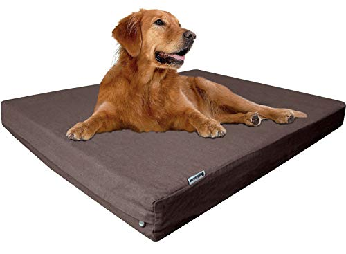 Dogbed4less Extra Large Orthopedic Memory Foam Dog Bed for Large Dogs, Durable Denim Cover, Waterproof Liner and Extra Pet Bed Case, Fit 48'X30' Crate, Brown