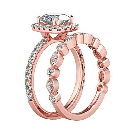 Younoo1 - 2 anillos de compromiso para pareja o pareja con estrás, anillo de compromiso, regalo de cumpleaños