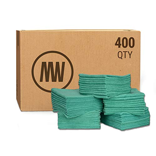 """Bulk 12"""" X 12"""" Economy All Purpose Microfiber Towels Wholesale - Case Quantity (400 Count)   No Fraying   High Density Microfiber   Chemical Free Cleaner   Long-Lasting (Green)"""
