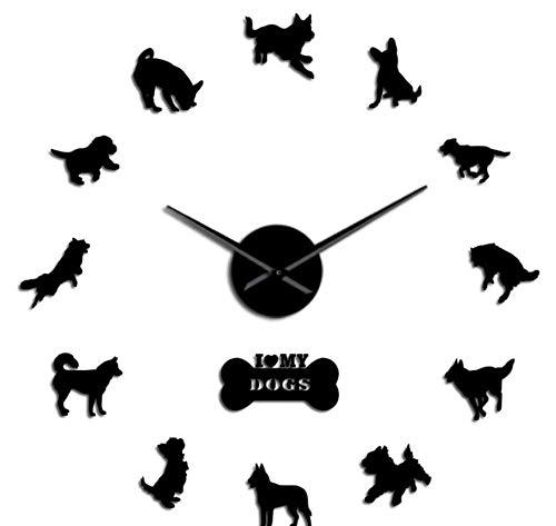 hutianyu 37 Inch Yorkshire Terrier Labrador Siberische Husky Chihuahua Grens Colie Duitse Herder Gemengde Hond rassen Diy Giant Wandklok Groot Horloge
