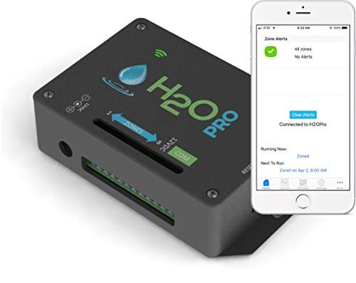H2OPro Smart Sprinkler Timer, WiFi, 8 Zones, EPA WaterSense Certified, Auto Adjusts Watering Based on Weather, Optional Flow Meter Add-On for Tracking Water Use, Leaks and Low Flow