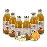 Zumo de Naranja y Jengibre Ecológico - Sin Azúcares Añadidos - 6 Botellas de 750ml