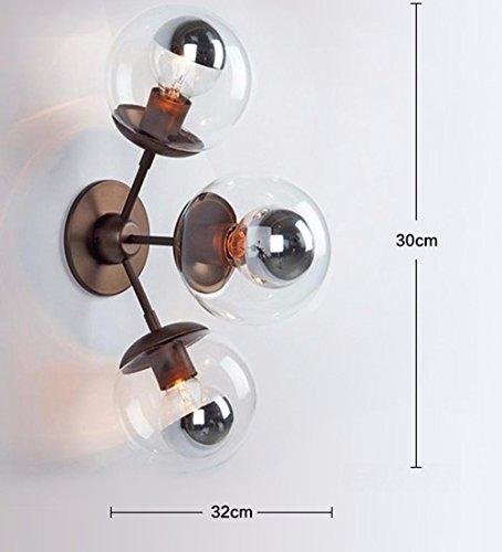 JJZHG Wandlamp Indoor Wandlamp Vintage studeerkamer woonkamer nachtkastje glazen muur lamp,3 hoofden omvat: wandlampen, wandlamp met leeslamp, wandlamp met stekker, wandlamp schaduw
