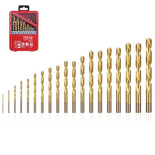 flintronic® Juego de Brocas HSS, 19 PCS (1mm~10mm) Brocas de Acero de Alta Velocidad Herramientas Brocas Helicoidales Revestidas de Titanio (Embalaje de Caja de Hierro Portátil)