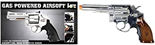 Lancer Tactical HFC Airsoft Gas Powered Revolver Pistol with 6 BB Shells Silver 325 FPS