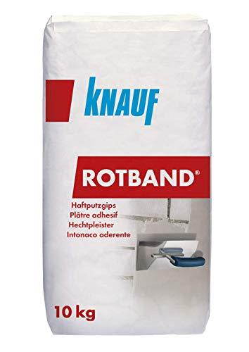 Knauf Rotband Haftputz-Gips mit sehr hoher Festigkeit, 10-kg – hochwertiger Grund-Putz, Haft-Putz besonders geeignet für Beton-Wände sowie Beton-Decken, als Untergrund für Tapete, Fliesen, Dekor-Putz
