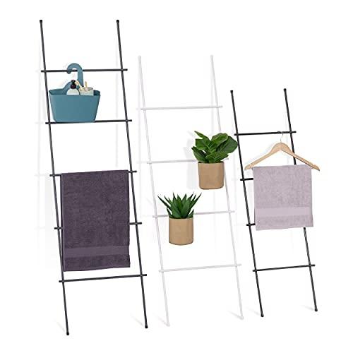 HOLZBRINK porta asciugamani appendiabiti porta asciugamani scala vintage, Monolith 150x50 cm (alt x larg), acciaio grezzo laccato, HLS-150-50-0000