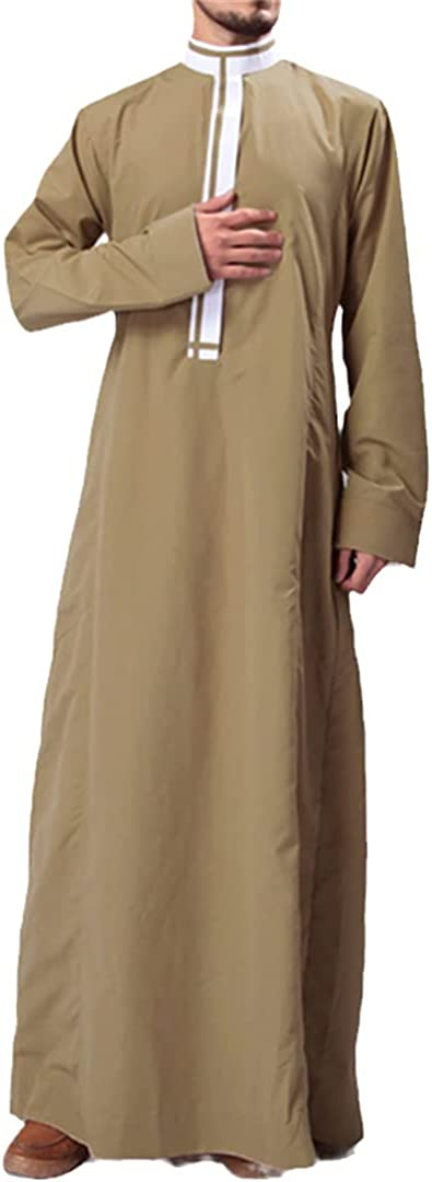 Eyastvgnf Muslim Kaftan Men Islamic Arab Clothes Patchwork Stand Collar Long Sleeve Dubai Arabia Gown