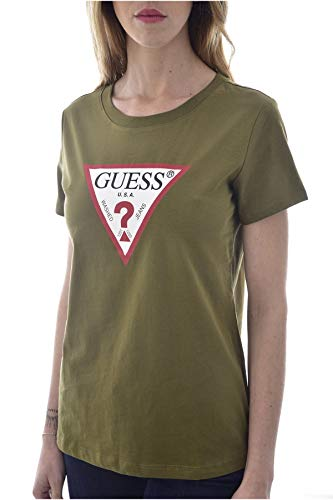 Guess SS Cn Triangle tee Camiseta, Verde, XL para Mujer