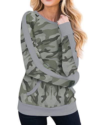 Style Dome Damen Langarmshirt T-Shirt Bluse Casual Rundhals Tunika Tops Oberteile B-Grüne Tarnung 2XL