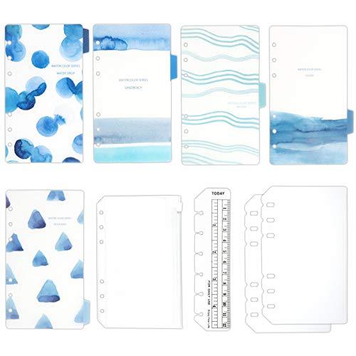 TSUKURIRO プラスチック インデックス 4種セット しおり定規 クリアポケット リフィル 保護 カバー (ブルー, B6 バイブルサイズ)