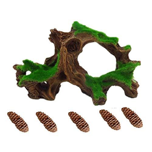 Aquarium Driftwood Fish Tank Cave Betta Log with Moss Resin Tree Trunk Aquarium Ornament Decoration (1pcs Driftwood and 5 pcs Pine Cones)
