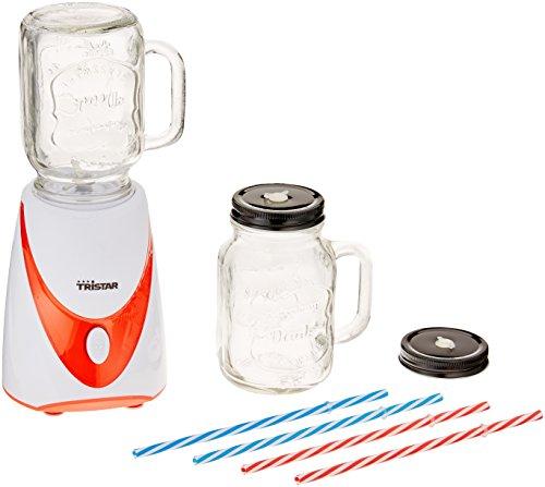 Tristar BL-4456 Mixer 'Mason Jar' - Met 2 glazen kanten-4 gekleurde rietjes, ja