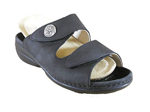 Theresia M. Tieffußbett-Pantolette, Nubukleder schwarz, 93016-00117, herausnehmbares Fußbett für eigene lose Einlagen (Numeric_38_Point_5)