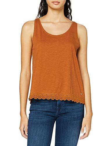 TOM TAILOR Denim Damen Relaxed Crochet T-Shirt, 22110-mango Brown, XL