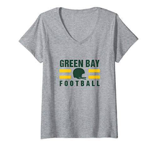 Womens Sport Stripes Green Bay Football Helment Wisconsin Green Bay V-Neck T-Shirt