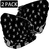 EXV 2 Pcs American Flag Face Mask Bandanas 12 in 1 Multifunctional Seamless Dust Outdoor Bandana