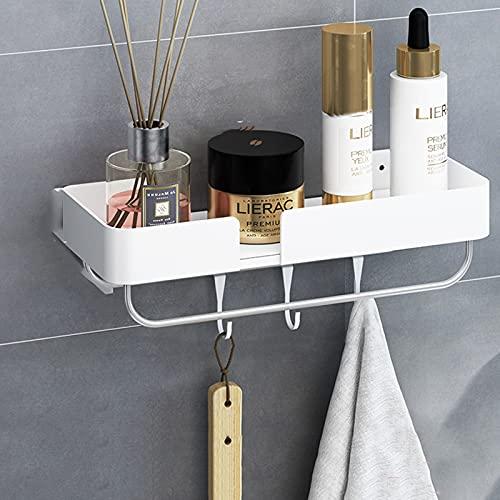LYZL Estanteria Baño Ducha Estantes De Baño Estante para Baño De Pared con Gancho Encimera De Estante Ensanchada para Baño Ducha,Blanco,30cm