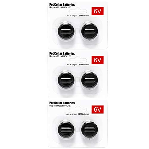 6Packs Pet Collar Batteries Compatible with PetSafe RFA-67 6 Volt Replacement Batteries