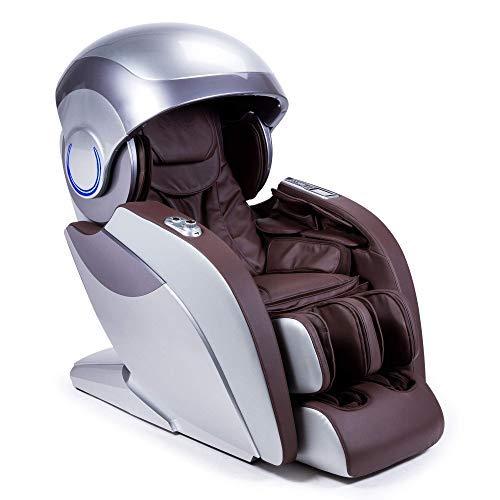 Kronos® Limited Edition 4D-Massagesessel - Braun (neues Modell 2021) - 74 Drucktherapiedüsen - Aromatherapie - Beleuchtung/Fototherapie - 3D-Bluetooth-Sound – Schwerkraft Zero und Raum Zero