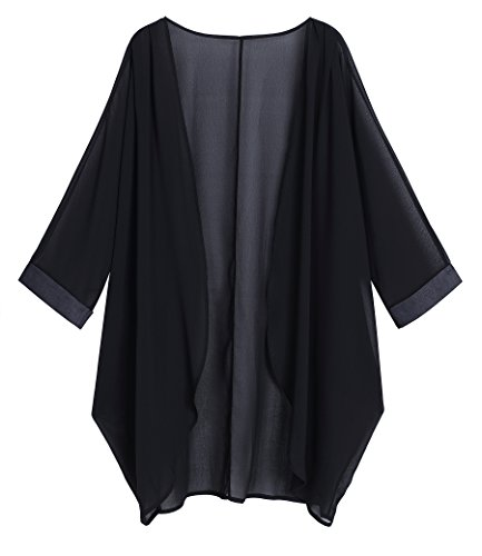 OLRAIN Women's Floral Print Sheer Chiffon Loose Kimono Cardigan Capes (Medium,...