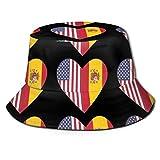 Funny Z Sombrero de Cubo Unisexo Media Bandera de España Media Bandera de Estados Unidos Corazón Impreso Sombrilla Gorra de Pescador