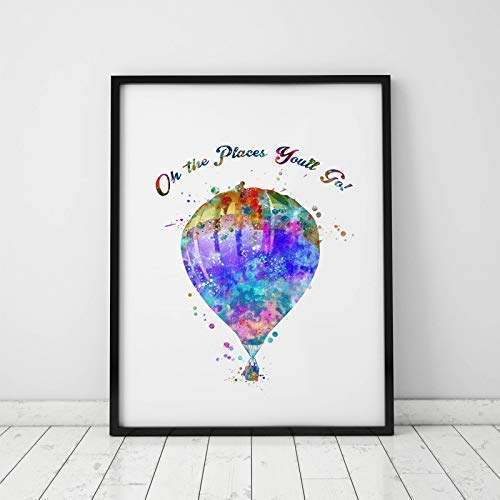 Hot Air Balloon Art Print Watercolor Oh The Places You'll Go Wall Hanging Hot-air Balloon Art Paper Balloon Poster Watercolor Wall Decor 8x10 inch No Framed
