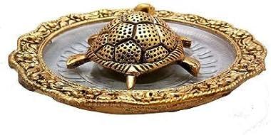 Vinayak Emporium Metal Feng Shui Tortoise On Plate Showpiece for Good Luck Decorative Showpiece (Metal, Gold)