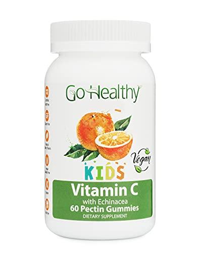 Go Healthy Natural Vitamin C Gummies with Echinacea for Kids, Vegan, OU Kosher, Halal (60) - 100 mg Servings