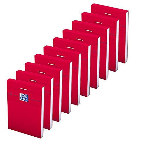 Oxford - Lotto di 10 bloc-notes, formato A7, a quadretti piccoli, 5 mm, 80 fogli, graffati, copertina rigida, colore: Rosso