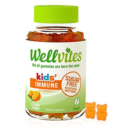 Wellvites Kids Immune Daily Sugar Free, Vegan Gummy Vitamin: Vitamin C - Sweetener Free, Gluten Free, Gelatin Free and Non-GMO, 60 Count (30 Day Supply)