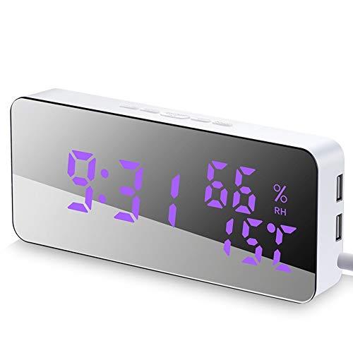 HOOBBI LED-Digital-Wecker am Bett Wecker USB-Ladeanschluss Full-Range Helligkeit Dimmer Big Digit Anzeige Snooze Einstellbare Alarmlautstärke (Color : Weiß)
