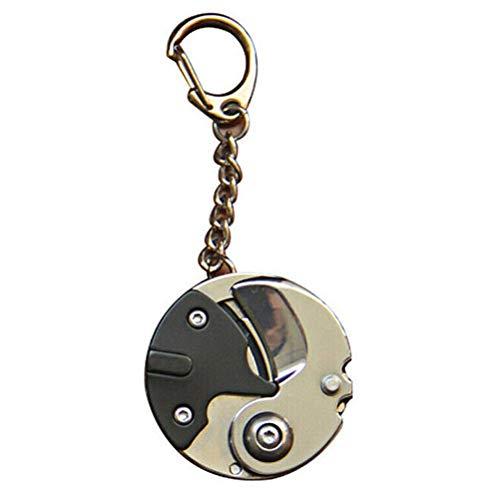 Jsdufs Mini Couteau de Poche, Porte-clés en Forme de pièce Couteau Pliant Portable Mini EDC Porte-clés de Poche Pliant avec chaîne Suspendue pour Le Camping