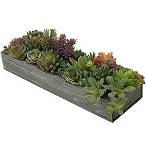Silk Flower Arrangements MyGift 16-inch Assorted Artificial Succulent Plants Arrangement in Large Vintage Gray Wood Planter Box