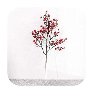 HaHapo Red Gypsophila Silk Artificial Flowers Cherry Blossoms Bouquet DIY Wedding Arrangement Decor Wreath Babies Breath Fake Flowers-Red