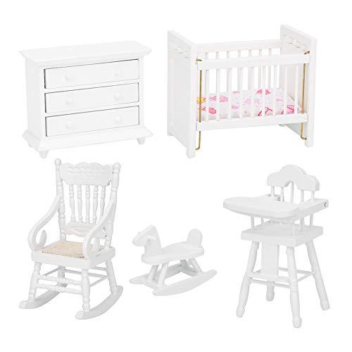 1:12 muebles de casa de muñecas en miniatura, 5 piezas de madera armario de cama de casa de muñecas caballo mecedora accesorios de muebles de casa de muñecas juego de habitación para niños(5 piezas)
