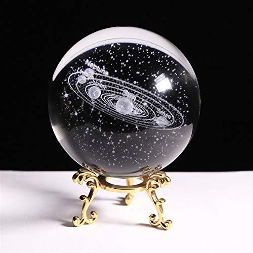 ZZLLFF Sistema Solar de Cristal de 80mm K9 Planet Globe Globe 3D Bola del Sistema de Sol Grabado con un Interruptor táctil LED Modelo cósmico (Color : Gold Base, Size : 8 cm)