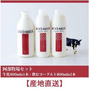 阿部牧場 熊本県阿蘇産 阿部牧場セット(牛乳900mlx1本・飲むヨーグルト800mlx2本)