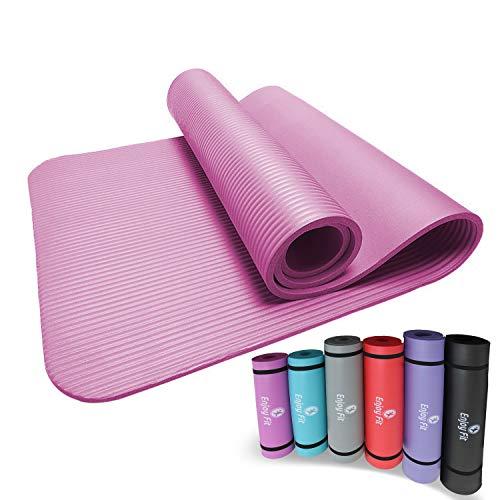 Enjoy Fit Gymnastikmatten mit Gurte Eine Vielzahl von Farben und Spezifikationen Keine Phthalate Yogamatten Einseitige rutschfest leicht zu reinigen (Rosa, 183*61*0,8)
