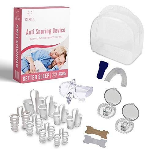 RDBA Dispositivos Anti Ronquidos Kit 5 En 1,8pcs Dilatadores nasales, Respiraderos Nasales 2 clip magnético, Estabilizador de lengua y Férula de dientes, Tiras nasales