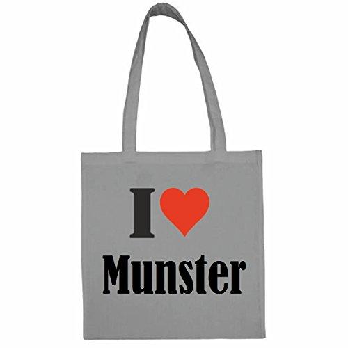 Tasche I Love Munster Größe 38x42 Farbe Grau Druck Schwarz
