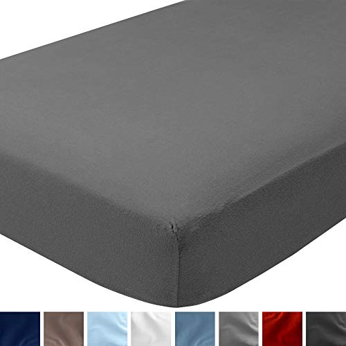 Bare Home Flannel Fitted Bottom Sheet 100% Cotton, Velvety Soft Heavyweight - Double Brushed Flannel - Deep Pocket (Queen, Grey)
