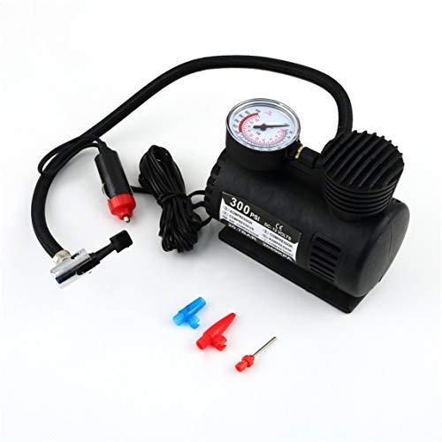 BiaBai Negro versátil 12V 300PSI bomba de inflado de neumáticos de coche Mini bomba de compresor compacto inflador de aire de neumáticos de bicicleta de coche