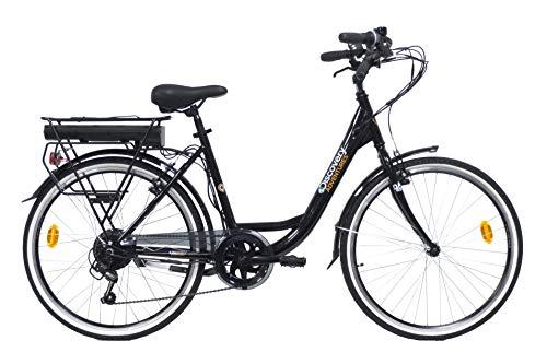 """Discovery E4000, Bicicletta a pedalata assisita, City Bike con Ruote da 26"""", Cambio Shimano 6 velocità Donna, Nero"""