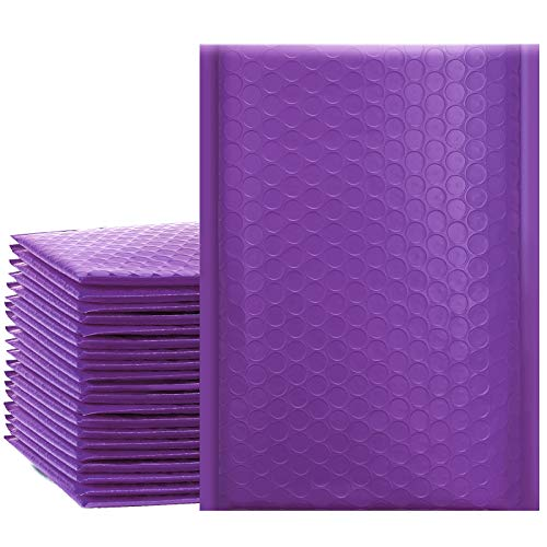 UCGOU 4x8 Inches Poly Bubble Mailers Self Seal Purple Padded Envelopes Waterproof Envelopes Pack of 50 (Internal Size 4x7)