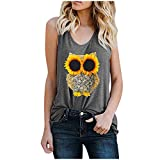Graphic Racerback Tank Tops for Women Funny Tee Shirt Blouses Owl Sunflower Print Gym Summer Sleeveless Tshirts Vest Gray