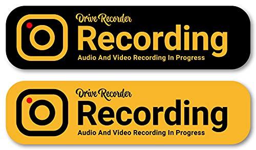 Isaac Trading ドライブレコーダー 録画中 ステッカー 耐水・耐候 英語 ソリッドカラー シール ドラレコ 127×33mm 2色セット 車用 STC-092 (イエロー・ブラック)